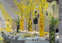 Lemon Arrangements with Forsythias