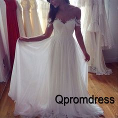 white chiffon off shoulder lace sweetheart elegant prom dress bridesmaid dress - QPromDress
