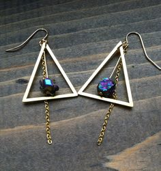 Rainbow titanium quartz nugget and brass triangle earrings, by BlueTribe etsy shop <3  tribal earrings, boho earrings, rainbow fluorite earrings, geometric earrings