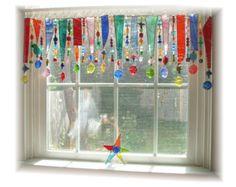 Splashy Artgl With Beads Ooak Stained Gl Window Treatment Valance Curtain