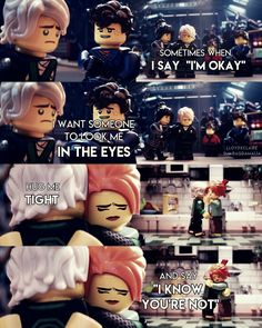 "⚪[ ""Sometimes when I say: I'm okay, I want someone to look me in the eyes, hug me tight and say: I know you are not"" ] #quote ⚪LEGO Ninjago Movie  ⚪Lloyd and Nya, Jay, Koko ⚪My edit. Hope you'll like it. :-) ⚪If you repost, please give me credit or tag me in the picture ⚪Credit isn't necessary but the tag is very appreciated.  ⚪Collab with LloydxClaire ( on instagram) ⚪If you repost the collab edit, please give credit to LloydxClaire"