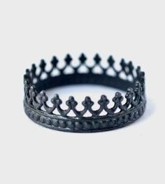 Oxidized King Crown Sterling Silver Ring