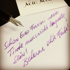Schon #Enzo_Ferrari wusste außergewöhnliche Tinte zu schätzen! Darum hat er immer mit violetter Tinte geschrieben.   Bekenne jetzt Farbe, mach es wie Enzo und bring deine Einzigartigkeit zu Papier!  Wir helfen dabei mit edlen Füllfedern und brillanten Premiumtinten! www.nota-nobilis.at  #Premium #Premiumtinte #Luxury #füllfederhalter #füller #Füllfeder #Tinte #Ink #Success #Erfolg #Enzo #Ferrari #noodlers #diamine #deatramentis #sailorpen #mb #pelikan Arabic Calligraphy, Ferrari, Success, Dyes, Note, Paper, Writing, Hang In There, Knowledge