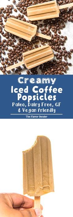 Iced Coffee Popsicles (Coffee Coconut Milk Popsicles) – The Flavor Bender Iced Coffee Popsicles – A creamy coconut milk breakfast popsicle that is made with just 4 ingredients and is gluten free, dairy free, paleo, and vegan-friendly as well! Coconut Milk Popsicles, Coffee Popsicles, Breakfast Popsicles, Sugar Free Popsicles, Easy No Bake Desserts, Frozen Desserts, Delicious Desserts, Frozen Treats, Pavlova