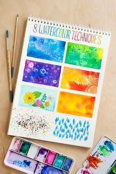 8 watercolor techniques for beginners / 8 técnicas de aquarela para iniciantes