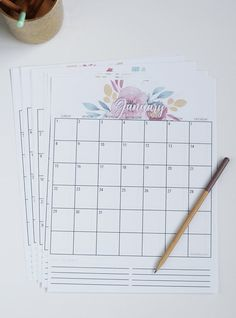 2017 Printable Calendar - watercolor florals - Instant Download