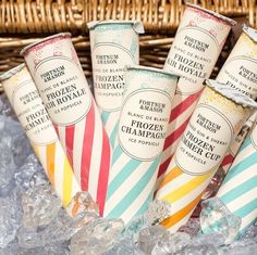 No wedding is complete without a few chiller baskets of these wonderful frozen Ice Popsicles from Fortnum & Mason. No wedding is complete without a few chiller baskets of these wonderful frozen Ice Popsicles from Fortnum & Mason. Champagne Popsicles, Alcoholic Popsicles, Strawberry Champagne, Ice Popsicles, Cocktail Drinks, Fun Drinks, Yummy Drinks, Craft Cocktails, Beverages