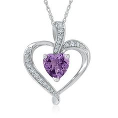 Heart-Shaped Amethyst Pendant in Sterling Silver available at #HelzbergDiamonds