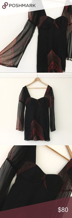 Stone Cold Fox Baby Doll Open Back Dress BOHO Perfect condition. Looks amazing. Low back. Size M/L. Unique bell 🔔 sleeves Stone Cold Fox Dresses