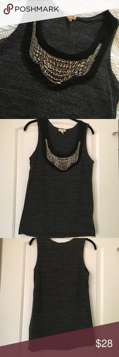 Gray embellished top! Dark gray & white top! Has black tool around the silver beading- worn a handful of times. Great condition silence + noise Tops