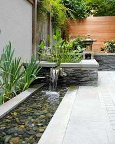 Want to improve your backyard or landscape design? Add a water feature like a fountain, pond, stream, or pool. Here are 24 inspiring outdoor water feature ideas for you to try! Indoor Water Features, Small Water Features, Water Features In The Garden, Garden Features, Modern Water Feature, Diy Water Feature, Backyard Water Feature, Small Water Gardens, Back Gardens