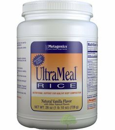 Metagenics UltraMeal RICE Vanilla 26oz (729g) by Metagenics. $34.25. UltraMeal Rice is a nutritionally fortified, meal replacement drink mix designed for those who want to improve their body composition (healthy lean mass-to-fat ratio). This functional food features:      * 15 grams of low-allergenic-potential rice protein: an easily digestible source of high quality protein suitable for those who want to avoid soy and milk products.     * Essential vitamins and miner...