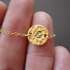 Hammered Pendant Initial of your Choice  Gold Filled by 4ever4, $24.00