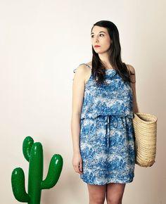 Robe CALIFORNIA robe bleue en Liberty  cousue et par CharlotteAuzou, €120,00