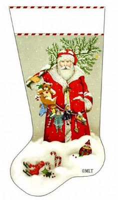 click here to view larger image of Snowy Santa Stocking (hand painted canvases)