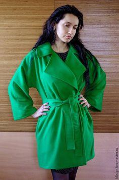 Купить Пальтишко на запах - зеленый, пальто на весну, пальто на заказ, вишневый, весна 2015