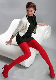 Beautiful Women Wearing Pantyhose, Stockings, Thigh Highs, Knee Socks, and Hosiery (No Nudity) Colored Tights Outfit, My Tights, Wool Tights, Opaque Tights, Coloured Tights, Nylons, Red Pantyhose, Pantyhose Outfits, Bas Sexy