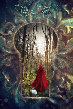 Peeking through a key hole looking at a cape figure walking in forest with fairy tale feeling