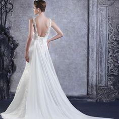 2014最新款 雙肩深V奢華水鑽蕾絲超顯瘦韓式公主拖尾綁帶款婚紗