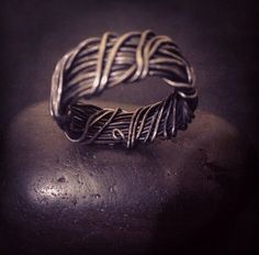 Men's Wedding Band Commitment band Rustic Ring Steel by angieww, $31.52