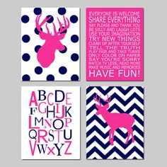 Hey, I found this really awesome Etsy listing at https://www.etsy.com/listing/175454988/baby-girl-nursery-art-chevron-deer
