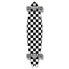 Fishtail Longboard Complete - Checker White
