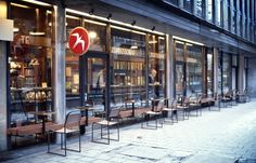 Fuglen, Oslo: The world's most stylish cafe-furniture shop - Gadling Norway Oslo, Best Coffee Shop, Coffee Shops, Cafe Furniture, Vintage Furniture, Scandinavian Interior, Night Life, Facade, Places To Visit