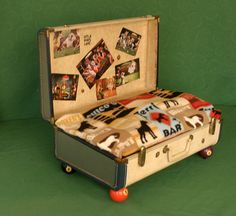 UpCycled Suitcase Pet Bed Billiards Man by leeannsvintagedecor, $119.00