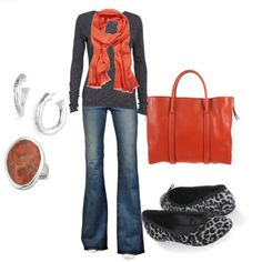 love the orange accents with this outfit!
