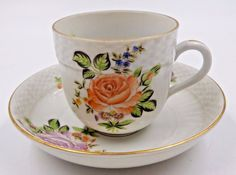 VINTAGE HEREND HANDPAINTED DEMITASSE TEA CUP & SAUCER SET #Herend