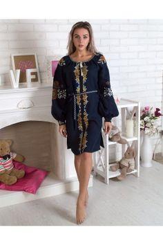Сукня «Квітуче коло» темно-синього кольору – оригінальна модель у  бохо-стилі e41903a6afdbb