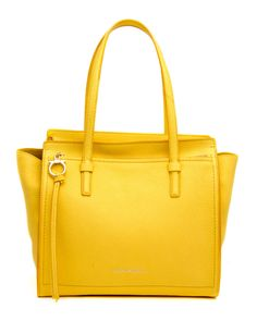 "Salvatore Ferragamo Mimosa Yellow Amy 	Pebbled grain leather 	Top zip closure 	Leather interior lining 	Inner zip pocket 	Exterior zip pocket 	8.5"" handle drop 	Gold-tone hardware 	Metal base protective feet 	13"" W X 12"" T X 7"" D 	Made in Italy"