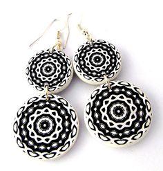 Chandelier earrings, double drop earrings, black by JewelryByJolanta, $30.00