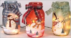 To make each of these holiday jars you will require some acrylic paints, mason jar, ribbon and flameless tealight. First paint the jar in any one color of your choice. After painting the background paint a snowman with white color and paint its further details like eyes, nose, scarf and buttons. If you want add some glitter too. Then tie a ribbon or piece of tartan print cloth around the upper end of the jar. Put a tealight inside it and enjoy the view.