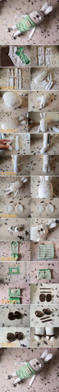 DIY Old Sock Cute Bunny Doll