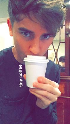 Connor Franta and his tiny coffee