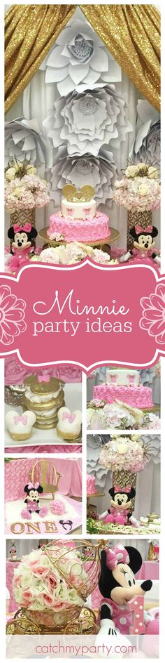 You won't want to miss this glamorous Minnie 1st birthday! The dessert table and cake are to die for! See more party ideas and share yours at CatchMyParty.com