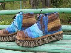 Handmade knitted boots .Microfiber