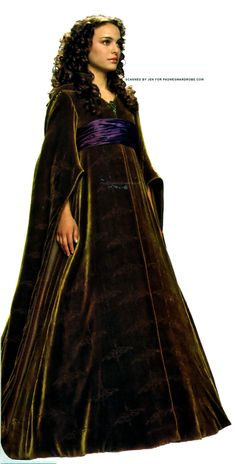 Star Wars Padme Green Velvet Dress - Front to side view