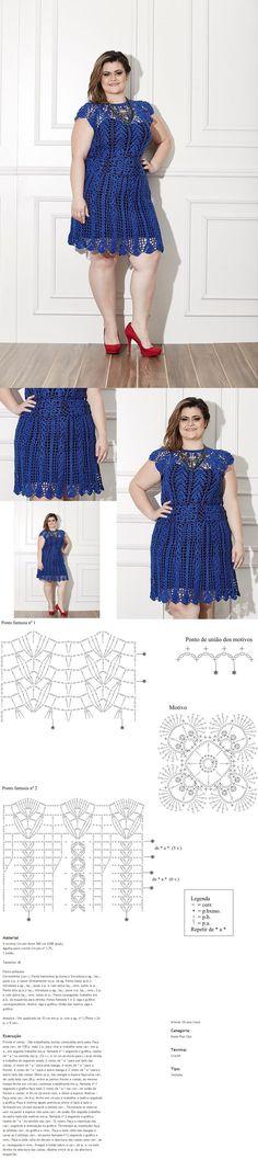 Receitas Círculo - PLUS SIZE - Vestido Azul [] #<br/> # #Plus #Size,<br/> # #Skirts,<br/> # #Blouses,<br/> # #Tric,<br/> # #Tissues<br/>