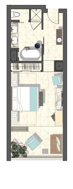Viceroy Hotel Layout - good design for a room with a balcony
