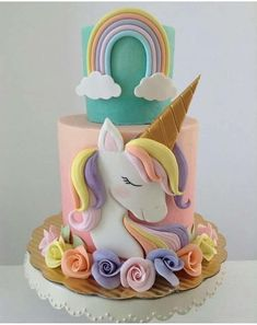 36 Ideas For Birthday Cake Unicorn Fondant Deco Cupcake, Cupcake Cakes, Unicorn Birthday Parties, Unicorn Party, Cake Birthday, 5th Birthday, Unicorn Foods, Unicorn Cakes, Girl Cakes