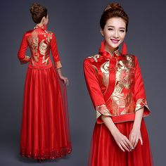 Shop elegant silk cheongsam, traditional Chinese red bridal dresses, sexy modernize Qipao from www.ModernQipao.com. Save 6% by share our products. Gold floral red brocade XiuHe traditional Chinese bridal dress