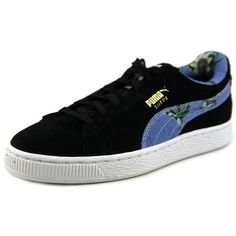 Puma Puma Suede Classic + Flourish Round Toe Suede Sneakers (566.600 IDR) ❤ liked on Polyvore featuring shoes, sneakers, black, kohl shoes, round toe sneakers, black sneakers, black suede shoes and puma sneakers