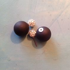 Brand New Double Sided Earrings Large ball has a matte finish and the smaller ball resembles a disco ball  Boutique Jewelry Earrings