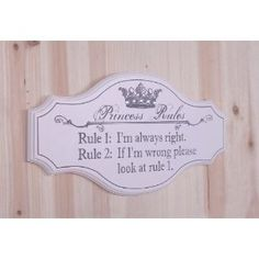 Decorative Wooden Sign Plaque Wall Decor with Quote, Princess Rules
