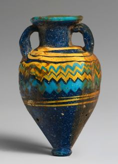 heracliteanfire:    Glass amphoriskos (perfume bottle) Late 6th–5th century B.C., said to be from Corinth (via The Metropolitan Museum of Art)