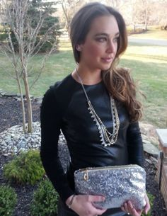 Gorgeous leather dress! And I LOVE that Susie Raine sequin clutch! ;)