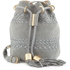 See By Chloe Vicki Small Suede Bucket Bag ($440) ❤ liked on Polyvore featuring bags, handbags, shoulder bags, zip purse, suede leather handbags, drawstring purse, drawstring bucket bags and see by chloe handbags