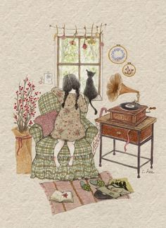 Lee S. Illustration of people Art And Illustration, Photo Images, Drawing Artist, Whimsical Art, Belle Photo, Cat Art, Cute Drawings, Art Inspo, Illustrators